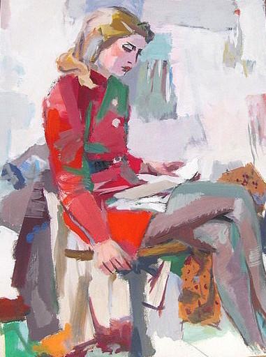 Erich HARTMANN - Dibujo Acuarela - Lesende Frau im roten Kleid
