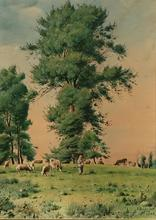 Jean-Baptiste MILLET - Dibujo Acuarela - paysage