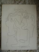 Ossip ZADKINE - Drawing-Watercolor - VISAGE aux MAINS