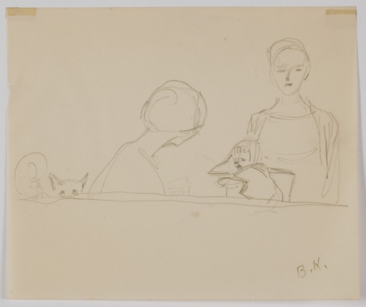 "Broncia KOLLER-PINELL - Drawing-Watercolor - ""Family Scene"", by Broncia Koller-Pinell,  ca 1920"