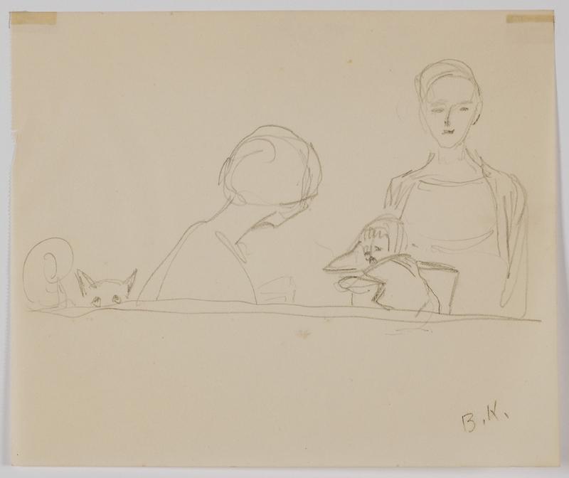 "Broncia KOLLER-PINELL - Drawing-Watercolor - ""Family Scene"", by Broncia Koller-Pinell,  ca 1920"