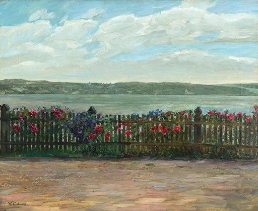 Wilhelm TRÜBNER - Peinture - Rosenzaun, mit Aussicht nach Schloß Berg am Starnberger See