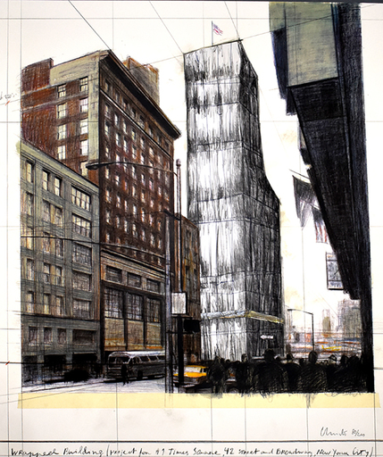 CHRISTO - Estampe-Multiple - Wrapped Building, Project for #1 Times Square, 42 Street