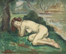 Emile Othon FRIESZ - Painting - Jeune femme endormie au bord d'un ruisseau