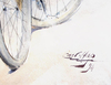 Karl HAPPEL - Disegno Acquarello - Elégantes à bicyclettes -  (Elegante Dame mit Fahrrad)