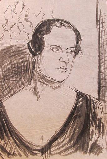 Erich HARTMANN - Disegno Acquarello - #19909:Frau im Halbprofil.