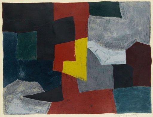 Serge POLIAKOFF - Print-Multiple - Composition grise, rouge et jaune
