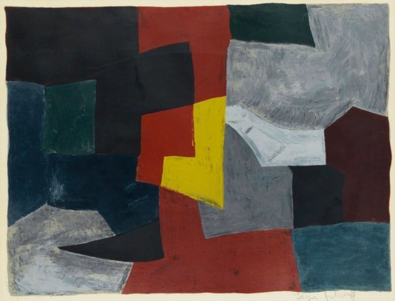 Serge POLIAKOFF - Estampe-Multiple - Composition grise, rouge et jaune