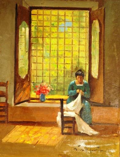 Joan GIRALT LERIN - Painting - Making The Curtain