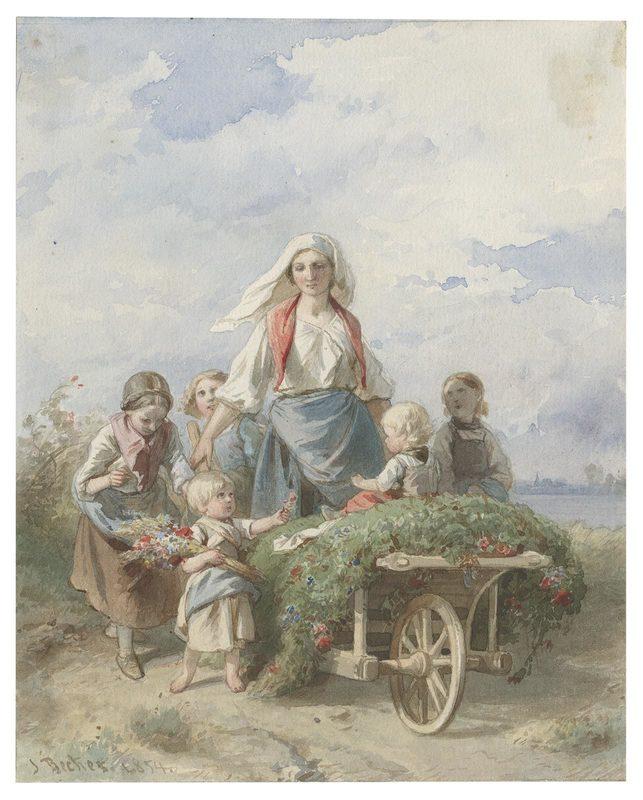 Jakob BECKER VON WORMS - Drawing-Watercolor - Heimkehr aus dem Walde.