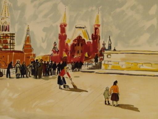 "Yves BRAYER - Grabado - ""Moscou:La Place Rouge"",1976."