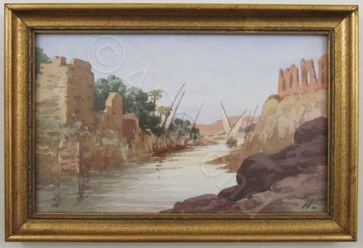 Rudolf WEISS - Dessin-Aquarelle - Egyptian ruins along the river with a sailing boat