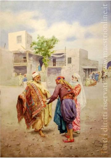Giulio ROSATI - 绘画 - Mercante di tappeti