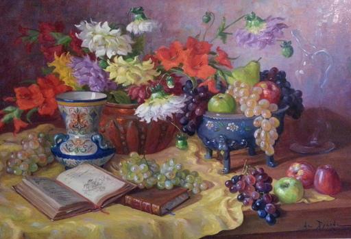 Reyne-Marin DE PYERNE - Pintura - Nature morte aux fleurs et aux livres