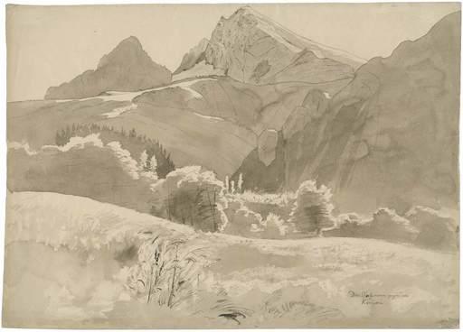 Carl WAGNER - Disegno Acquarello - Blick Richtung Königssee mit dem Watzmann.