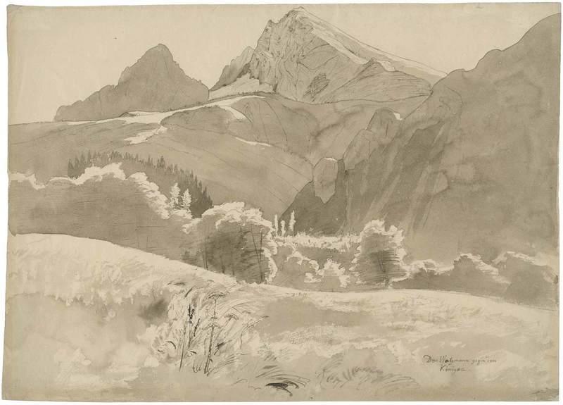 Carl WAGNER - Drawing-Watercolor - Blick Richtung Königssee mit dem Watzmann.