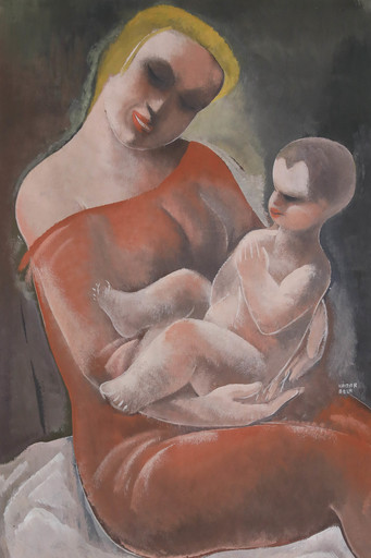 Béla KADAR - Dibujo Acuarela - Mother and Child