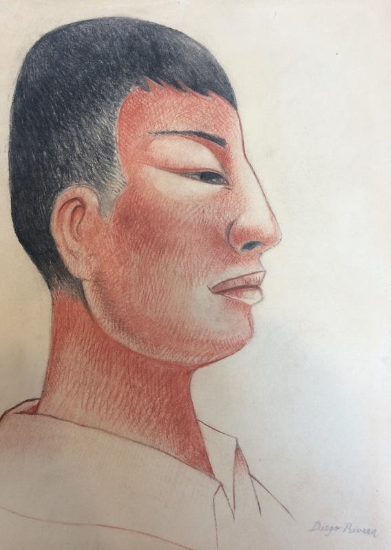 Diego RIVERA - Drawing-Watercolor - Porträt