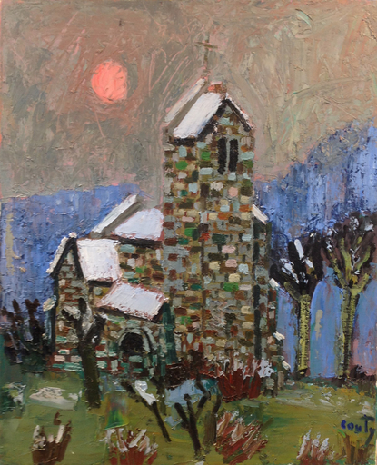 Jean COUTY - Gemälde - Eglise sous la neige