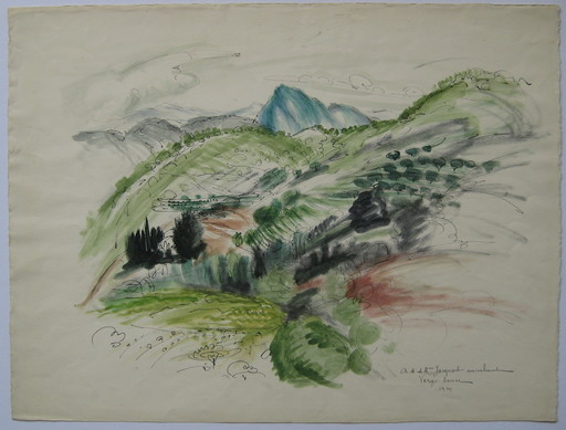 Henri VERGÉ-SARRAT - Disegno Acquarello - DESSIN 1924 SIGNÉ À LA MAIN HANDSIGNED DRAWING ART BELGE