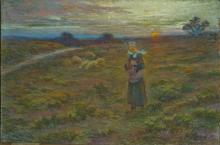 Clémence MOLLIET - Drawing-Watercolor - Bergère Bretonne et son troupeau vers Pont-Aven