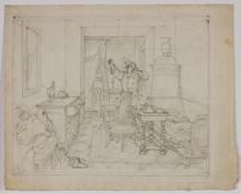 "Adam BRENNER - Drawing-Watercolor - ""Self-Portrait in Interior"" by Adam Brenner, ca 1820"