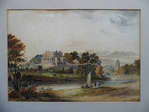 Samuel READ - Dibujo Acuarela - Landscape with English Country House next to River