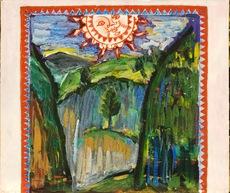 """Mikhail LARIONOV - Painting - Draft of a curtain for """"Le Soleil de Minuit"""""""