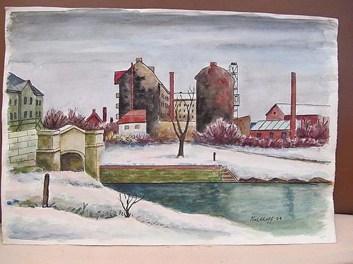 Walter KOHLHOFF - Disegno Acquarello - Berliner Kanal im Winter