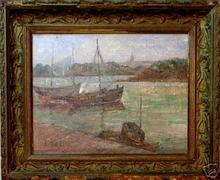 Fritz LACH - Peinture - Embarcations à Quai