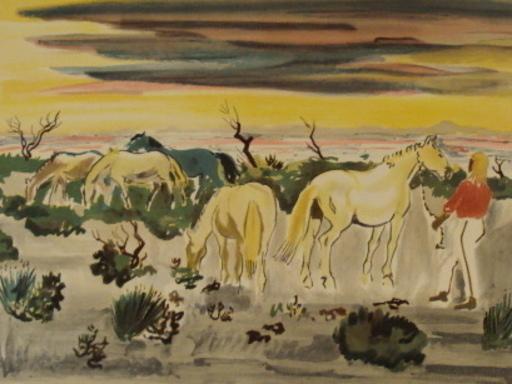 Yves BRAYER - Grabado - coucher de soleil en Camargue,1962.