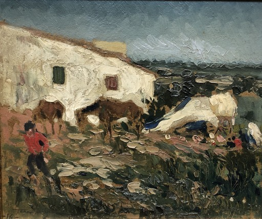 Joaquín TERRUELLA MATILLA - Painting - Casa de campo con caballos