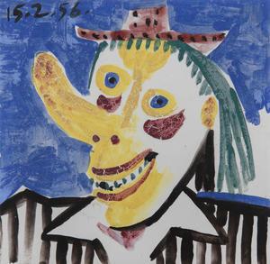 Pablo PICASSO - Ceramiche - Tête de clown, fond bleu