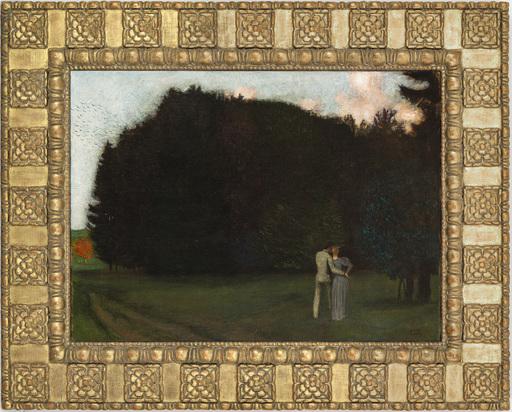 Franz VON STUCK - Pittura - Liebespaar am Waldrand