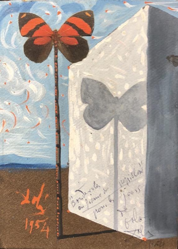 Salvador DALI - Painting - Banderoles en forme de papillon