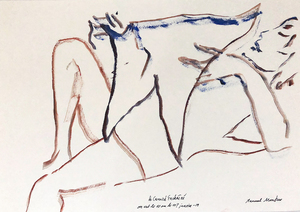 Manuel MONTERO - Dessin-Aquarelle - La lecture du Canard enchaîné