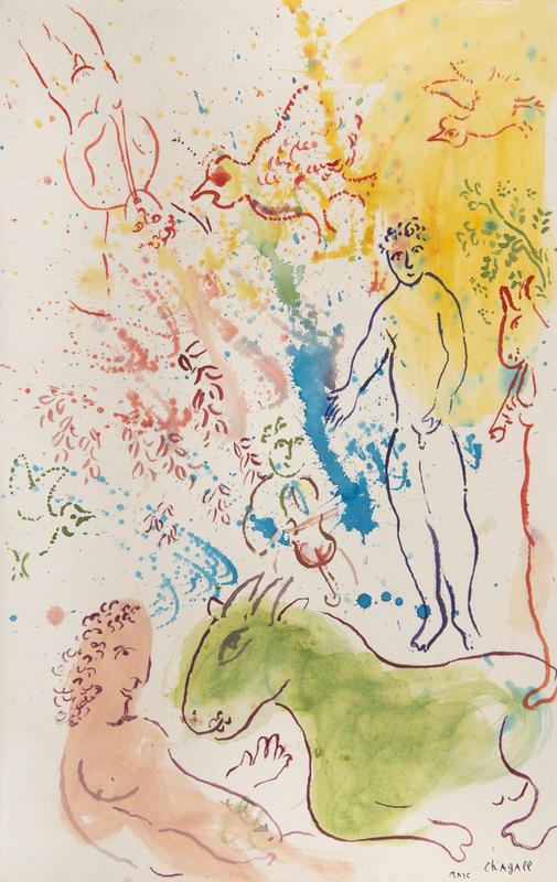 Marc CHAGALL - Drawing-Watercolor - La fête autour du nu rose