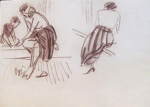 Erich HARTMANN - Dibujo Acuarela - #19678: Sitzende Frauen.
