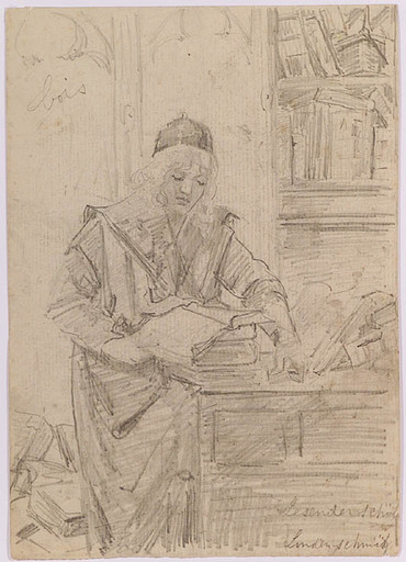 "Wilhelm II LINDENSCHMIT - Drawing-Watercolor - ""Young Scholar"", 19th Century"