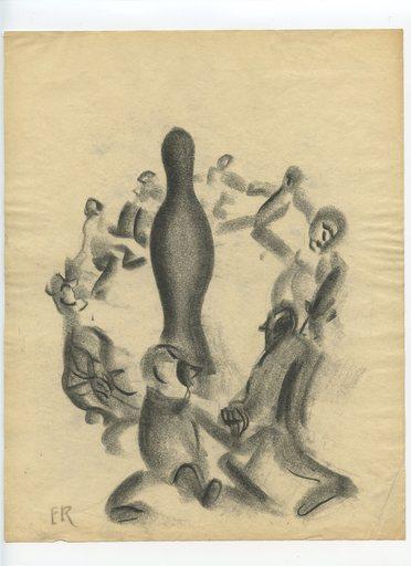 Ernest ENGEL-PAK - Dessin-Aquarelle - DESSIN AU FUSAIN SIGNÉ ER HANDSIGNED CHARCOAL DRAWING