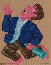 Hervé DI ROSA - Drawing-Watercolor - El borracho (l'ivrogne)