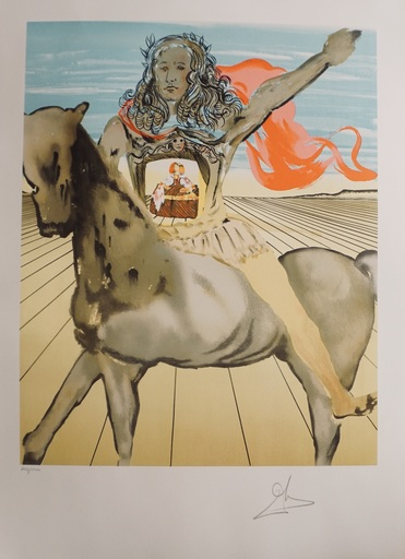 Salvador DALI - Estampe-Multiple - Chevalier Surréaliste