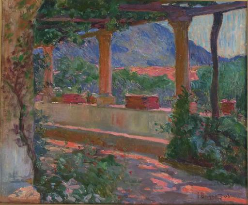 Henri BRUGNOT - Pintura - Uzès: la terrasse