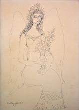 René PORTOCARRERO - Pintura - Angel con Florero