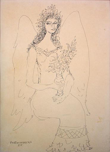 René PORTOCARRERO - Peinture - Angel con Florero