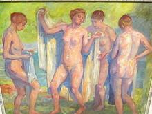 Arthur ILLIES - Pintura - Vier nackte Frauen nach dem Bad