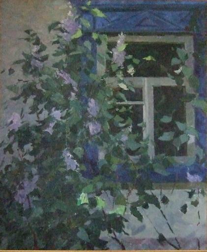 Victor SEVASTIANOV - Peinture - Buisson de lilas devant l'isba