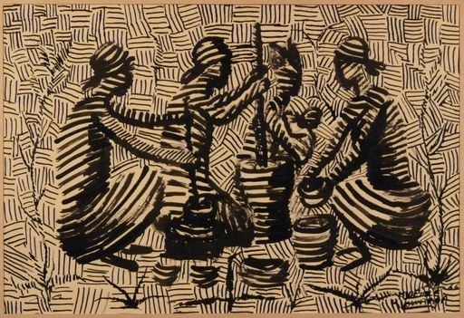 Mwenze KIBWANGA - Dessin-Aquarelle - Village scene - Women pounding food