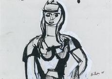 让·艾利翁 - 水彩作品 - Portrait de femme