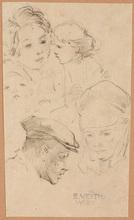 "Eduard VEITH - Dibujo Acuarela - Eduard Veith (1856-1925) ""Sketches"" two sheets, late 19th c."